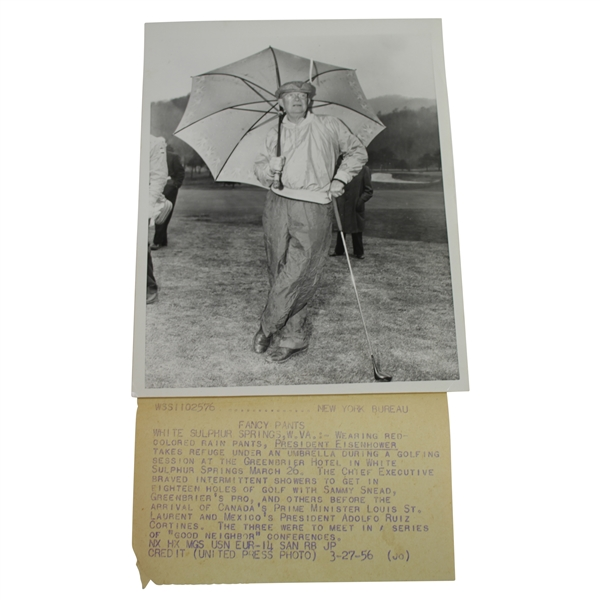 President Eisenhower with Umbrella Wearing Fancy Pants 7 1/8x9 Wire Photo 3/27/56