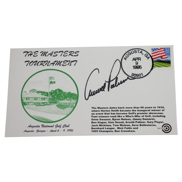 Arnold Palmer Signed 1995 Augusta National Golf Club Masters Tournament Cachet JSA ALOA