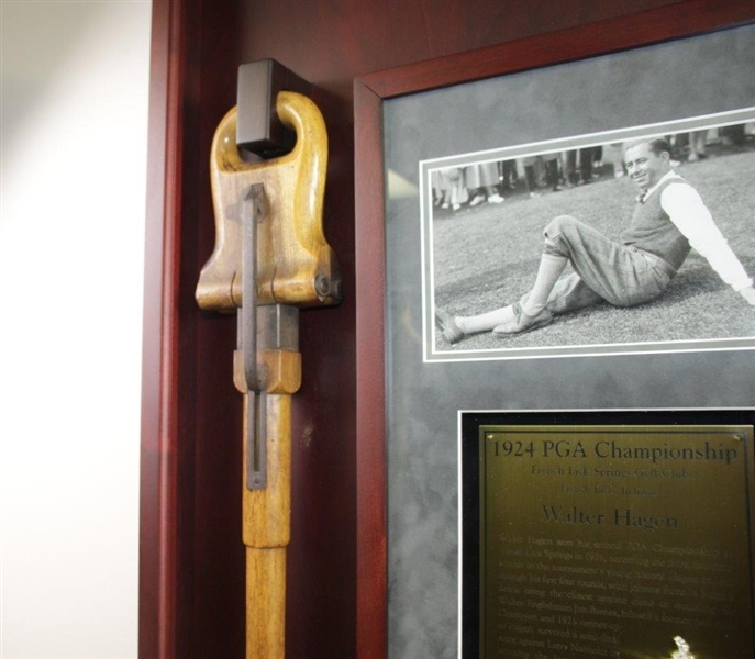 Walter Hagen's Personal Used Walking Stick/Seat in Custom Cherry Wood Display Tribute To 1924 PGA Win