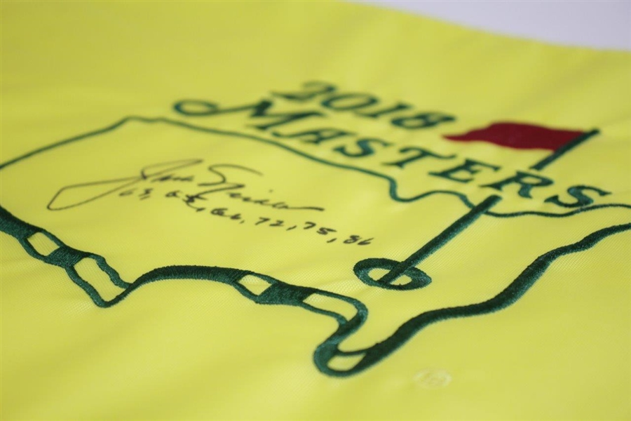 Jack Nicklaus Signed 2018 Masters Embroidered Flag with Years Won Notation JSA ALOA
