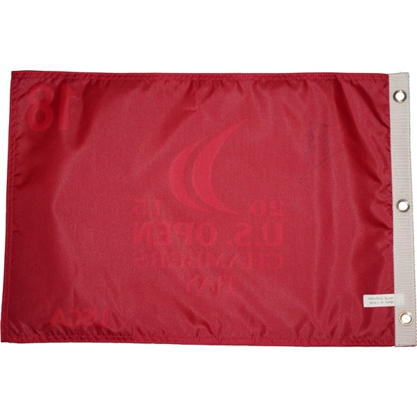 Jordan Spieth Signed 2015 US Open at Chambers Bay Red Screen Flag JSA ALOA