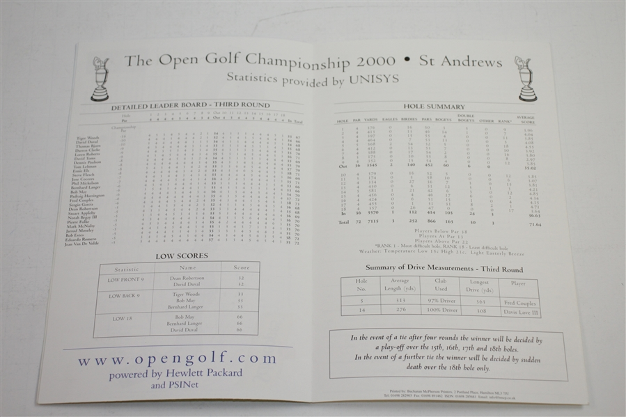 Tiger Woods Signed 2000 OPEN Championship at St. Andrews FINAL DAY Pairing Sheet JSA ALOA