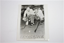 1947 Inverness Wire Photo of Ed Furgol & George Shoux Consulting Over Putt