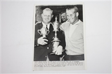 Jack Nicklaus Wins 1961 Amateur at Pebble Beach Wire Photo Holding Multiple Trophies