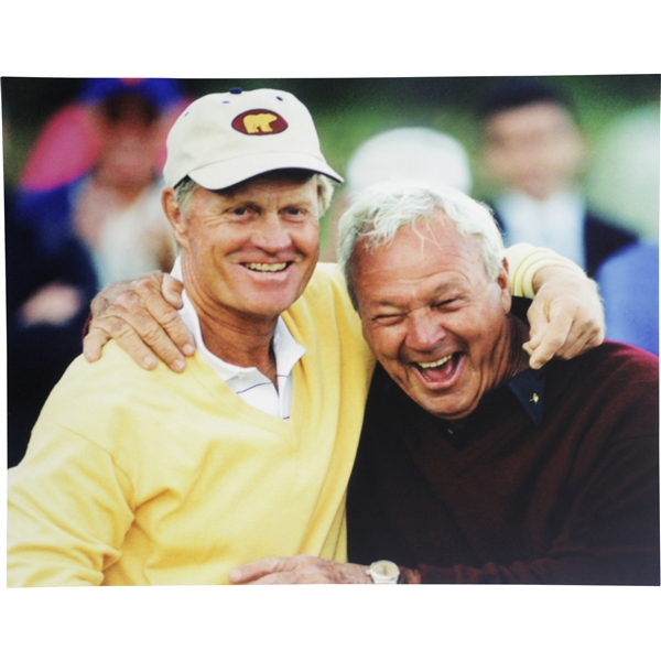 Arnold Palmer & Jack Nicklaus Color 16x20 Matted Candid Photo