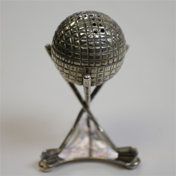 Vintage Silver Detachable Golf Ball Themed Pepper Shaker in Golf Club Tripod