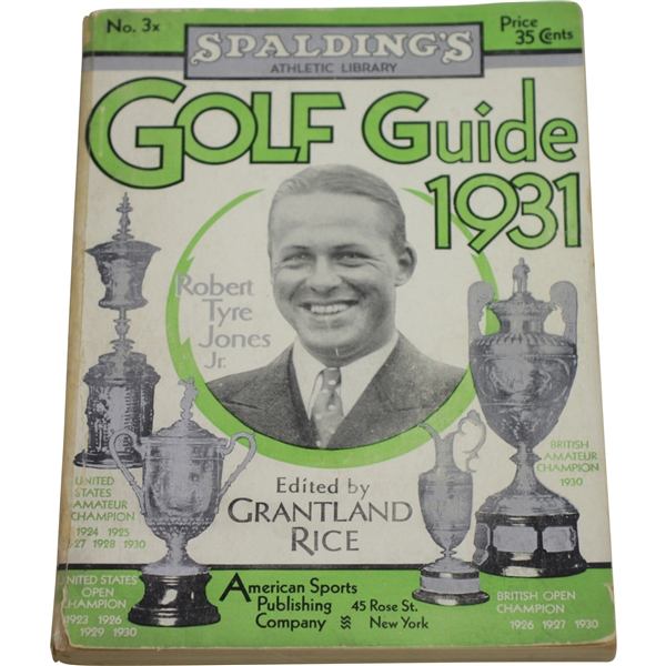 1931 Spaldings Athletic Library Golf Guide with Bobby Jones & Trophies on Cover
