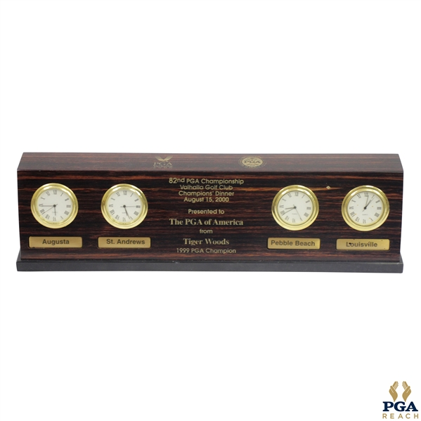 1999 Champion Tiger Woods 2000 PGA at Valhalla Gifted Time Zones Four Image Clock