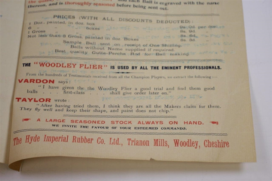 1897 The Hyde Imperial Rubber Co. Woodley Flyer Memo/Advert to J. Anderson (Musselburgh)