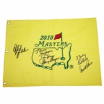 Big Three Plus Phil Mickelson (Winner) Signed 2010 Masters Flag with Personalization JSA ALOA