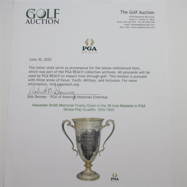 Alexander Smith Memorial Sterling Trophy Given to the 36-Hole Medalist in PGA Stroke Play Qualifier 1930-55