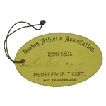 1890-1891 Boston Athletic Association Membership Ticket Issued to USGA President Herbert Jacques