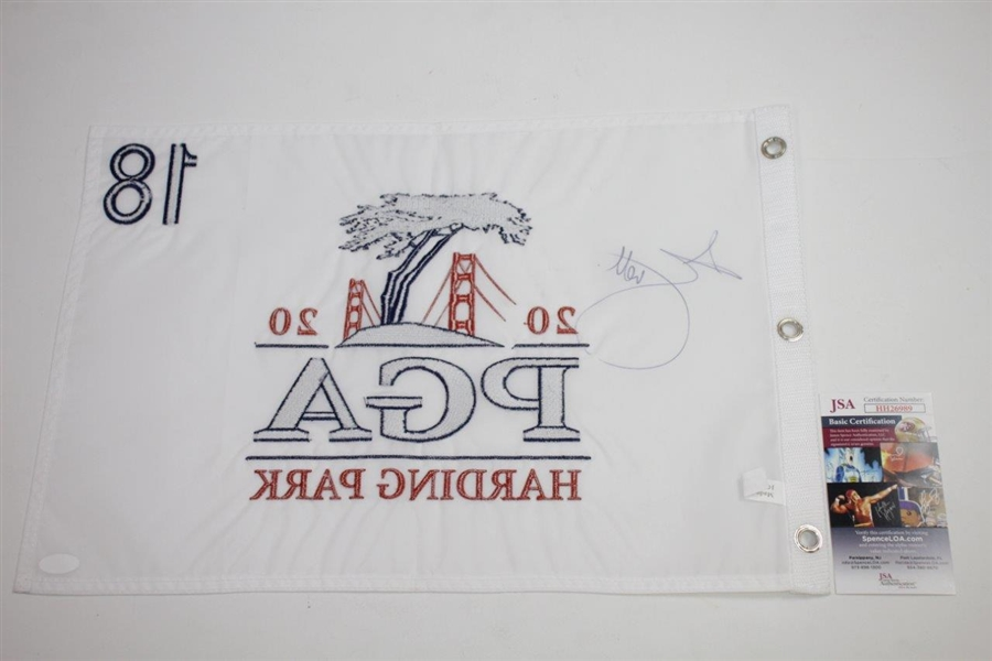 Adam Scott Signed 2020 PGA Championship at Harding Park Embroidered Flag JSA #HH26989
