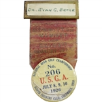 1926 US Open at Scioto Committee Member Badge with Ribbon - Bobby Jones Wins!