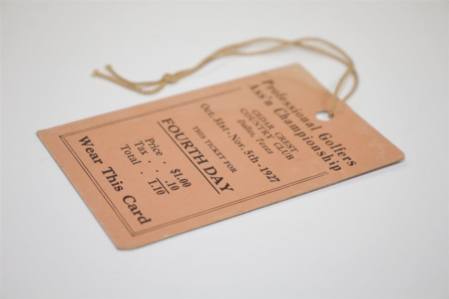 1927 PGA Championship at Cedar Crest CC Fourth Day Ticket - Hagen's Record Setting 5th!