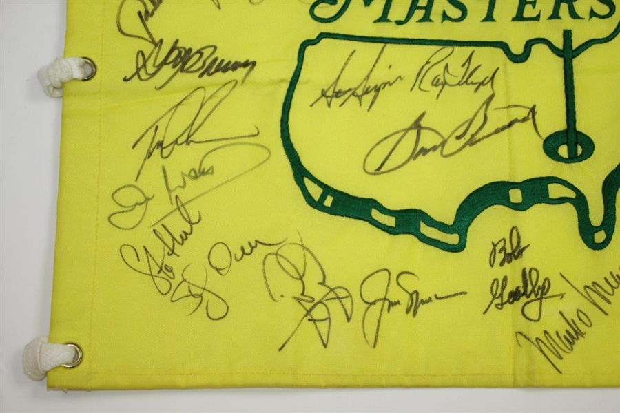 Tiger, Payne, Snead, Jack, & others Signed 1999 Masters Embroidered Flag JSA ALOA