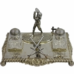 Vintage Ornate Crossed Clubs with Figural Golfer & Two Glass Golf Ball Inkwells