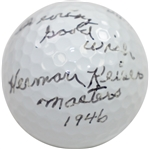 Herman Keiser Signed Golf Ball with Masters 1946 & With every good wish Notation JSA ALOA