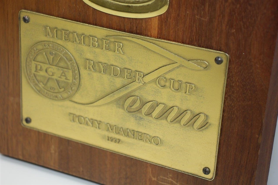 Tony Manero's 1937 Ryder Cup Team Member Hand Worked Copper Hand Cast Aluminum Plaque