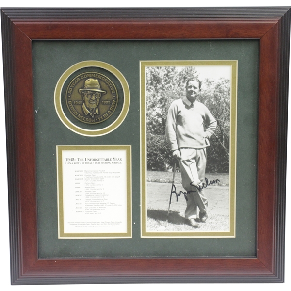 Byron Nelson Signed 'The Unforgettable Year' with Medallion, Year in Review, & Signed Photo JSA ALOA