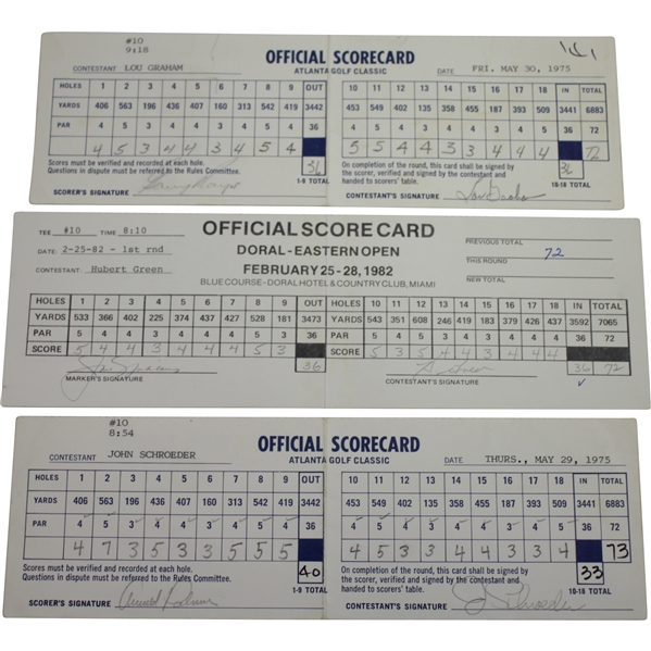 Arnold Palmer, Jack Nicklaus, & Gary Player 'Big 3' Signed Official Used Scorecards JSA ALOA