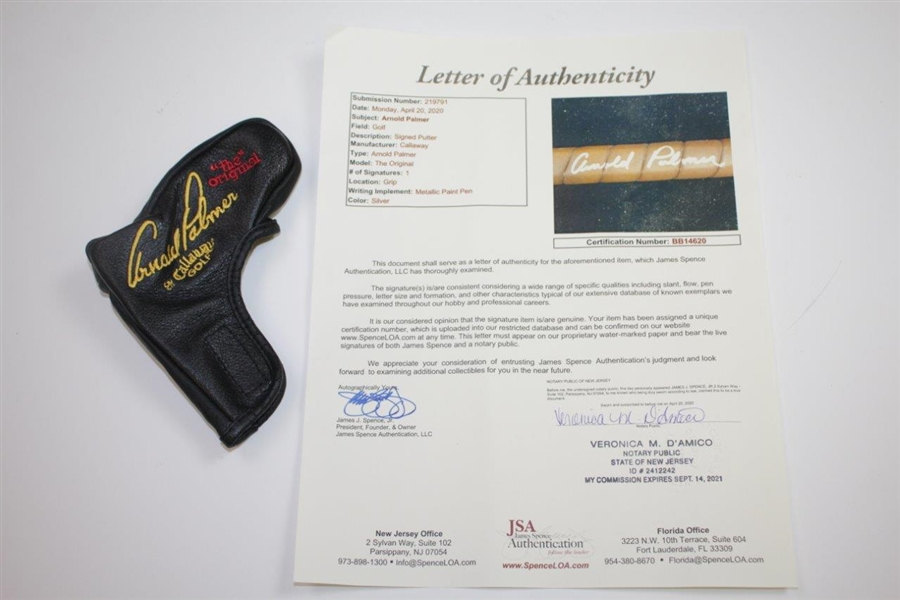 Arnold Palmer Signed 'Arnold Palmer's The Original' Putter with Headcover & Box JSA FULL #BB14620