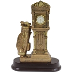Classic Golf Trophy/Statue Clock with Grandfather Clock & Golf Bag