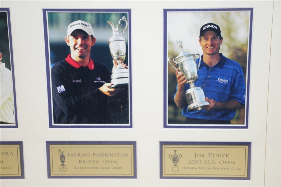Furyk, Cabrera, Johnson, & Harrington Signed PGA Grand Slam of Golf Flag - Framed JSA ALOA