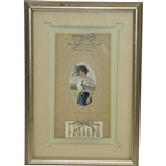 Vintage 1909 The First National Bank Calendar with The Golf Girl - Dwight, Ill. - Framed