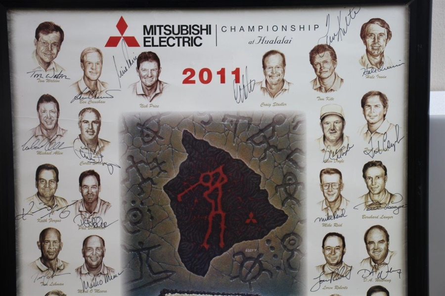 Multi-Signed 2011 Mitsubishi Championship at Hualalai GC Poster - Bobby Wadkins Collection JSA ALOA