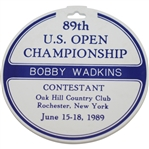 1989 US Open at Oak Hill CC Contestant Bag Tag Issued to Bobby Wadkins