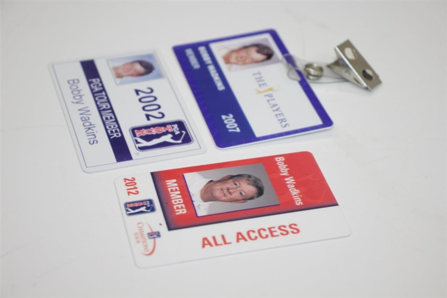 Three Bobby Wadkins ID Badges - 2002 PGA Tour, 2007 The Players, & 2012 Champions Tour
