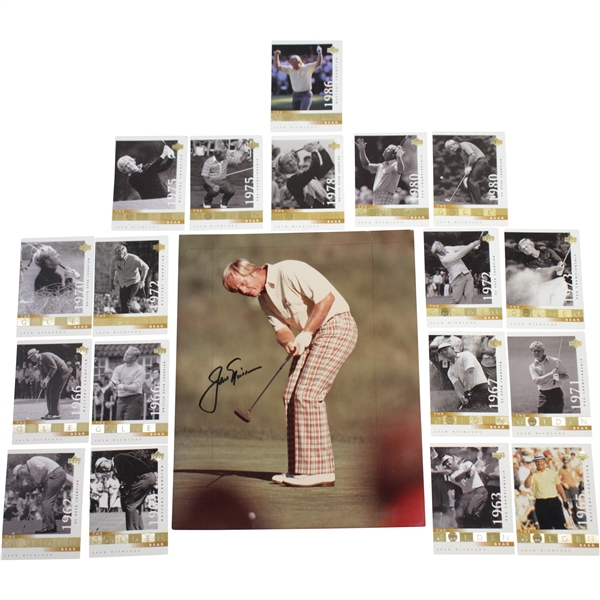 Jack Nicklaus Signed Photo with All 18 Nicklaus The Golden Bear Majors Golf Cards JSA ALOA