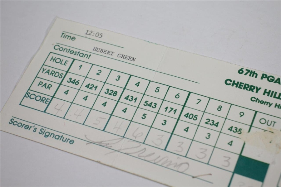 Hubert Green Signed Official Used 1985 PGA Championship FINAL RD Scorecard JSA ALOA