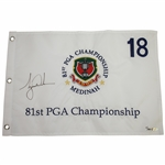 Tiger Woods Signed 1999 PGA at Medinah Embroidered White Flag Ltd Ed 19/500 UDA #BAM53244