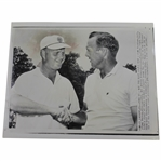 Arnold Palmer & Jack Nicklaus 8x10 Wire Photo Shaking Hands Before 1962 US Open Playoff