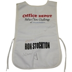 Arnold Palmer, Sam Saunders, Dave & Ron Stockton Signed Office Depot Father/Son Caddie Bib JSA ALOA