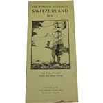 1931 The Summer Season in Switzerland List of Principal Sports & Social Events Booklet