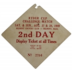 Demaret, Snead, Nelson, & Mangrum Signed 1949 Ryder Cup 2nd Day Ticket JSA FULL #BB50944
