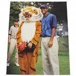 Tiger Woods Classic Signed 8x10 Photo with Tiger Mascot! JSA ALOA