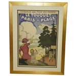 Circa 1920 Le Touquet Paris–Plage Rail Poster by Jules-Alexandre Grun - Printed by Cornille & Serre - Framed