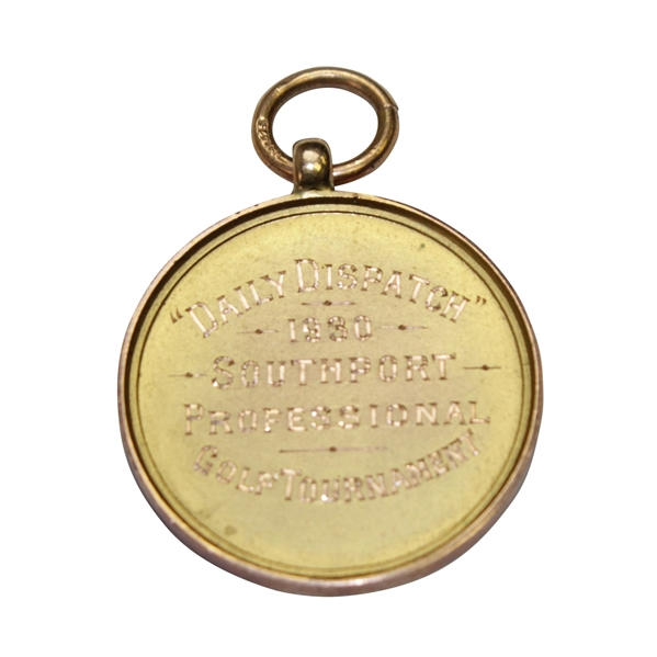 Horton Smith's 1930 Daily Dispatch Southport Inv. Golf Champ. Runner-Up GOLD Medal