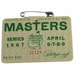 1967 Masters Tournament SERIES Badge #22124 - Gay Brewer Winner
