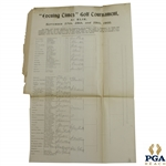 "1900 ""Evening Times"" Golf Tournament at Elie Bracket/Pairing Sheet - Partially Filled Out"