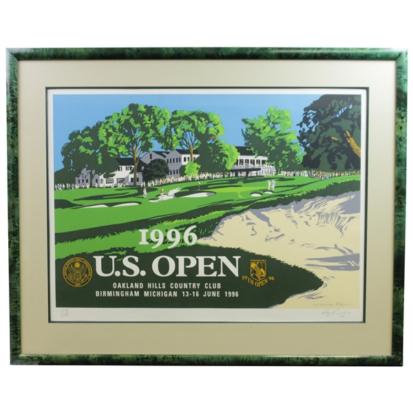 1996 US Open at Oakland Hills CC Ltd Ed Ken Reed Poster 174/500 - Framed