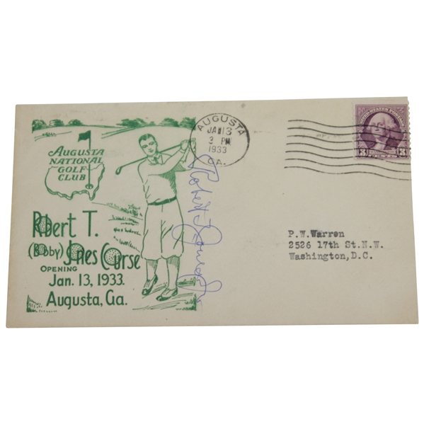 Bobby Jones Signed 1933 Augusta National GC First Day Green Ink Cover - Rare FULL JSA #BB90091