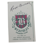 Ralph Guldahl Signed Braemar Country Club Cut Card JSA ALOA