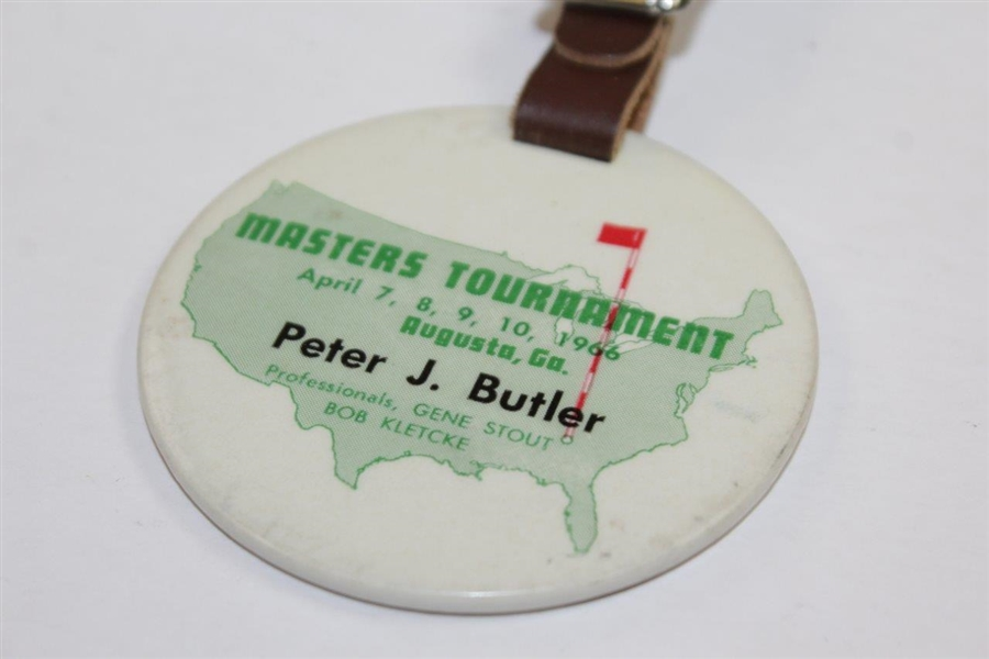 1966 Masters Tournament Contestant Bag Tag Issued to Peter J. Butler - Co leader After 36 Holes