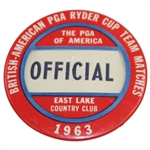 1963 Ryder Cup at East Lake Country Club Official Badge