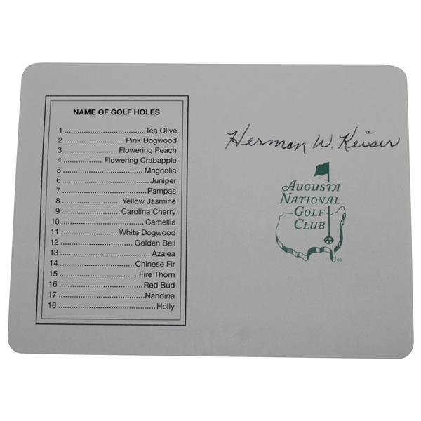 Herman Keiser Signed Augusta National Golf Club Scorecard JSA ALOA